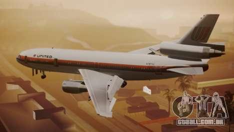 DC-10-10 United Airlines (80s Livery) para GTA San Andreas esquerda vista