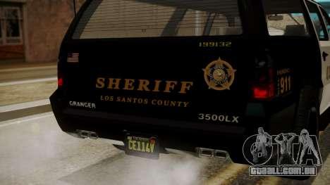 GTA 5 Declasse Granger Sheriff SUV IVF para vista lateral GTA San Andreas