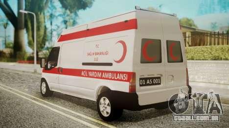 Ford Transit Jumbo Ambulance para GTA San Andreas esquerda vista