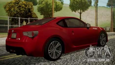 Toyota GT86 2012 LQ para GTA San Andreas esquerda vista