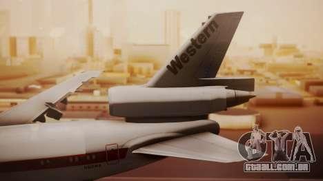 DC-10-10 Western Airlines para GTA San Andreas traseira esquerda vista