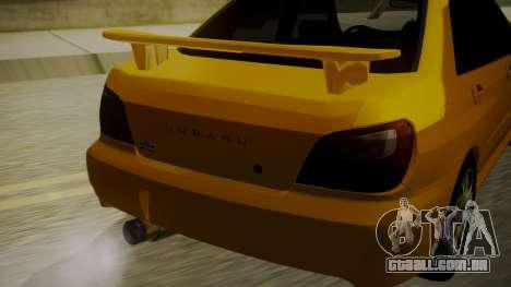 Subaru Impreza WRX GDA para GTA San Andreas vista traseira