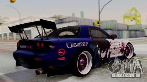 Mazda RX-7 Black Rock Shooter Itasha para GTA San Andreas esquerda vista