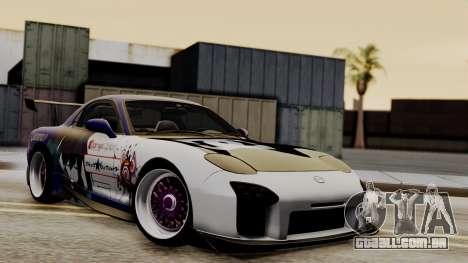 Mazda RX-7 Black Rock Shooter Itasha para GTA San Andreas vista interior