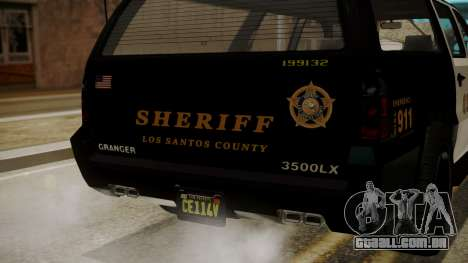 GTA 5 Declasse Granger Sheriff SUV IVF para GTA San Andreas vista interior