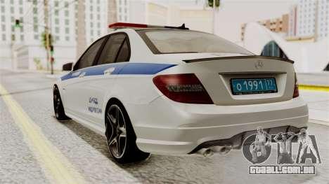 Mercedes-Benz C63 AMG STSI o Ministério de Assun para GTA San Andreas esquerda vista