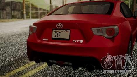 Toyota GT86 2012 LQ para GTA San Andreas vista traseira