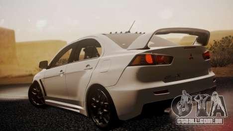 Mitsubishi Lancer Evolution X 2015 Final Edition para GTA San Andreas esquerda vista