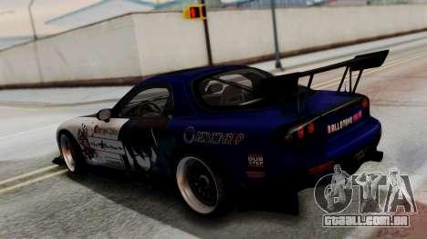 Mazda RX-7 Black Rock Shooter Itasha para GTA San Andreas vista traseira