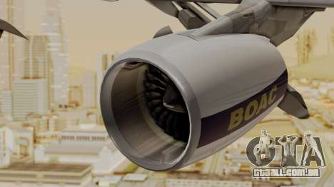 Airbus A380-800 British Overseas Airways Corp. para GTA San Andreas vista direita