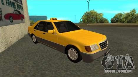 Mercedes-Benz W140 500SE Taxi 1992 para GTA San Andreas esquerda vista