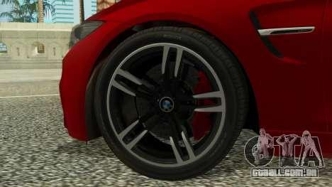 BMW M4 Coupe 2015 para GTA San Andreas traseira esquerda vista
