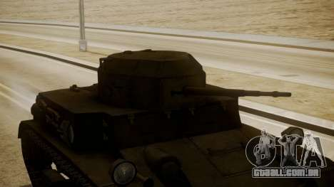 T2 Light Tank para GTA San Andreas vista direita
