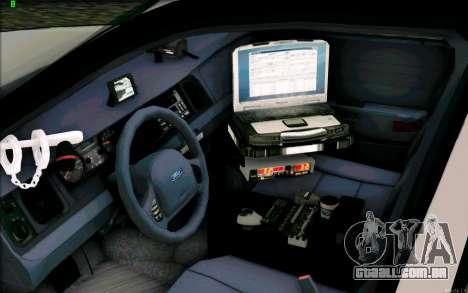 Weathersfield Police Crown Victoria para GTA San Andreas vista traseira