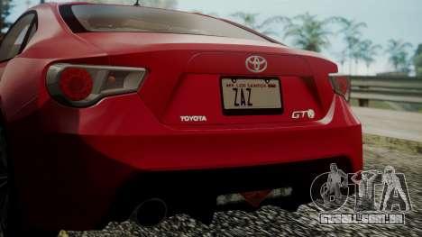 Toyota GT86 2012 LQ para GTA San Andreas vista superior