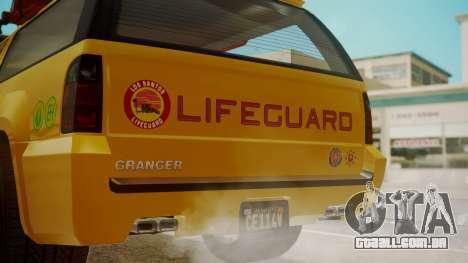 GTA 5 Declasse Granger Lifeguard para GTA San Andreas vista traseira