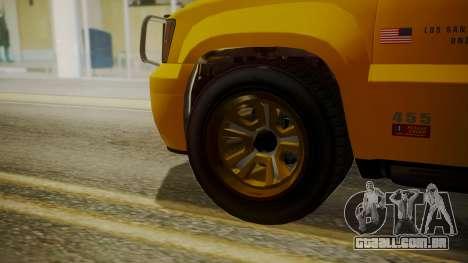GTA 5 Declasse Granger Lifeguard IVF para GTA San Andreas traseira esquerda vista