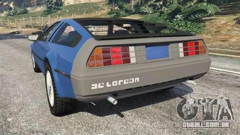 GTA 5 DeLorean DMC-12 v1.1 traseira vista lateral esquerda