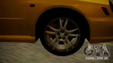 Subaru Impreza WRX GDA para GTA San Andreas traseira esquerda vista