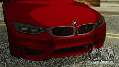 BMW M4 Coupe 2015 para GTA San Andreas vista traseira