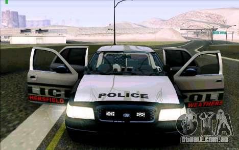 Weathersfield Police Crown Victoria para GTA San Andreas interior