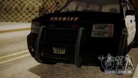 GTA 5 Declasse Granger Sheriff SUV para GTA San Andreas vista traseira