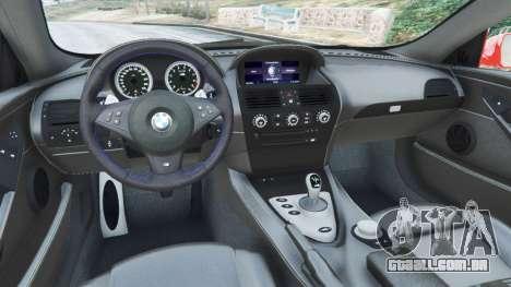 GTA 5 BMW M6 (E63) WideBody v0.1 [Carrillo] voltar vista