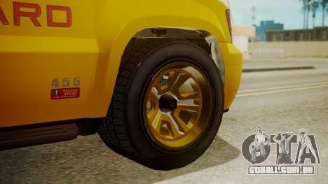 GTA 5 Declasse Granger Lifeguard para GTA San Andreas traseira esquerda vista