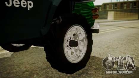Jeep Willys Cafetero para GTA San Andreas traseira esquerda vista
