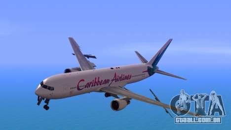 Boeing 767-300 Caribbean Airlines para GTA San Andreas traseira esquerda vista
