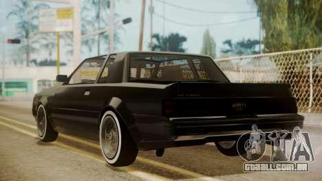 GTA 5 Faction Stock DLC LowRider para GTA San Andreas traseira esquerda vista
