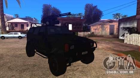 Komatsu LAV 4x4 with Vulcan Gatling Gun para GTA San Andreas traseira esquerda vista