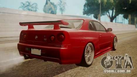 Nissan Skyline R34 FnF 4 v1.1 para GTA San Andreas esquerda vista