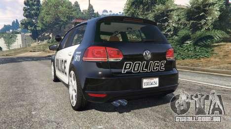GTA 5 Volkswagen Golf Mk6 Police traseira vista lateral esquerda