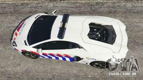 GTA 5 Lamborghini Aventador LP700-4 Dutch Police v5.5 voltar vista