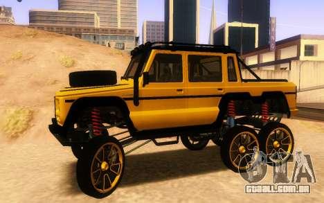 Benfeitor Dubsta 6x6 Ajuste Personalizado para GTA San Andreas esquerda vista