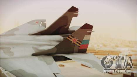 Mikoyan-Gurevich MIG-29A Russian Air Force para GTA San Andreas traseira esquerda vista