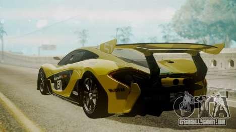 McLaren P1 GTR 2015 Yellow-Green Livery para GTA San Andreas esquerda vista