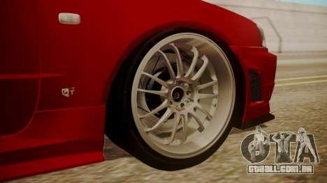 Nissan Skyline R34 FnF 4 v1.1 para GTA San Andreas traseira esquerda vista