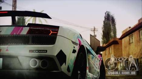 Lamborghini Gallardo LP570-4 2015 Miku Racing 4K para GTA San Andreas traseira esquerda vista