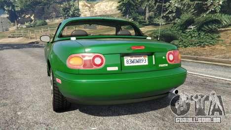 GTA 5 Mazda Miata MX-5 traseira vista lateral esquerda