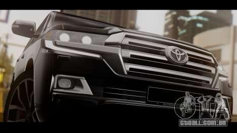 Toyota Land Cruiser 2016 para GTA San Andreas traseira esquerda vista