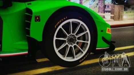 Lamborghini Huracan 610-4 GT3 2015 para GTA San Andreas traseira esquerda vista