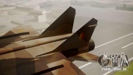 Mikoyan MiG-31 Yuktobanian Air Force para GTA San Andreas traseira esquerda vista