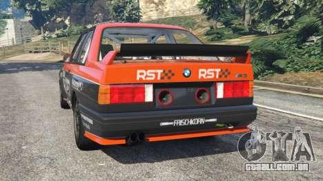 GTA 5 BMW M3 (E30) 1991 [RST] v1.2 traseira vista lateral esquerda