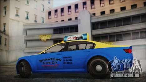 Cheval Fugitive Downtown Cab Co. Taxi para GTA San Andreas traseira esquerda vista
