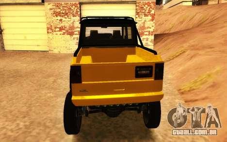 Benfeitor Dubsta 6x6 Ajuste Personalizado para GTA San Andreas traseira esquerda vista