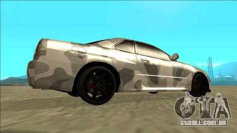 Nissan Skyline R34 Army Drift para GTA San Andreas traseira esquerda vista