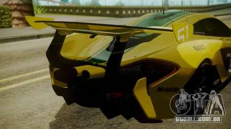 McLaren P1 GTR 2015 Yellow-Green Livery para GTA San Andreas vista traseira