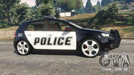 GTA 5 Volkswagen Golf Mk6 Police vista lateral esquerda